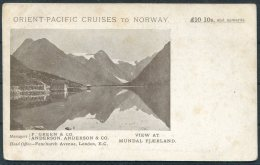 Orient Pacific Cruises To Norway, Mundal Fjaerland Ship Advertising Postcard - Advertising