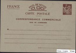 Entier Iris Sans Valeur Indiquée CP Correspondance Commerciale Avis De Commande Neuf Storch H3 - Cartes Postales Types Et TSC (avant 1995)