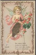 Themes Div-ref Y130-  Carte 12,5cms X 8cms - Decoupis - Decoupi Ange - 1er Avril , Poisson D Avril - /  Bon Etat - - Anges