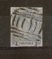 NEW SOUTH WALES 1851 2d ULTRAMARINE WORN PLATE SG 56 USED Cat £35 - Oblitérés