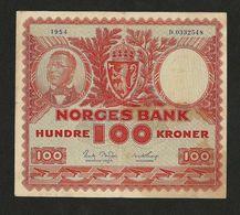 NORWAY-NORVEGE, NORGE BANK 100 KRONER 1954 P-33b VF+ Préfixe D - Norvège