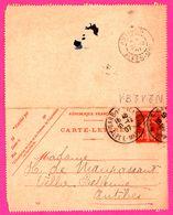 Carte Lettre 10 C Semeuse - Entier Postal - Oblit. Gare De Nice Vers Antibes ( 06 ) - Pour Maupassant De Ossola - 1907 - Entiers Postaux