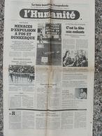 Journal L'Humanité (16 Avril 1979) Menaces Expulsion Fos/Dunkerque - Fête Enfants Montreuil - Séisme Yougoslavie - Kranten