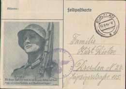 Feldpostkarte Bunzlau, Dresden 1943, Deutsche Wehrmacht, Drittes Reich, Militär - Guerra 1939-45