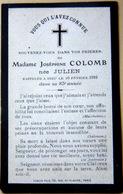 MEMORANDUM MADAME JOSEPHINE COLOMB NEE JULIEN  FAIRE PART BRETAGNE ANJOU - Obituary Notices