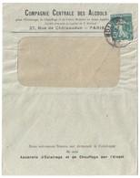 PARIS 2 R.milton Lettre Entête Compagnie Centrale Des Alcools 5c Semeuse Yv 137 Perforé C.C.A. Ancoper C.C.A 58 - France