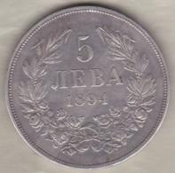 Bulgaria. 5 Leva 1894 KB. Ferdinand I. Argent .KM# 18 - Bulgaria