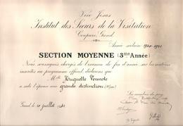 Institut Des Soeurs De La Visitation - Coupure Gand / Gent - Visitatie - Schooldiploma 1941 - Diplomi E Pagelle
