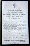 MEMORANDUM  BARON HENRY VAN SCHALKWIJCK DE BOISAUBIN FAIRE PART BRETAGNE ANJOU INDRE - Obituary Notices