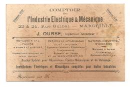 CARTE DE VISITE DU  COMPTOIR DE L'INDUSTRIE ELECTRIQUE ET MECANIQUE   MARSEILLE RUE GUIBAL B100 - Cartoncini Da Visita
