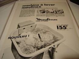 ANCIENNE PUBLICITE MACHINE A LAVER  DE MOULINEX  1969 - Publicidad