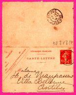 Carte Lettre 10 C Semeuse - Entier Postal - Oblit. Antibes ( 06 ) - Pour Maupassant - 1908 - Biglietto Postale