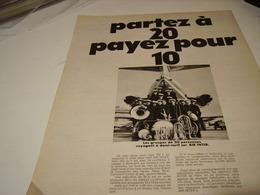 ANCIENNE PUBLICITE PARTEZ A 20 AERIENNE AIR INTER 1969 - Publicités