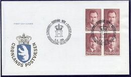 GREENLAND 1984 50th Birthday Of Prince Henrik Block Of 4 On FDC.  Michel 151 - FDC