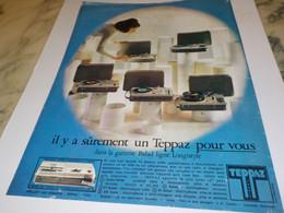 ANCIENNE PUBLICITE ELECTROPHONE DE TEPPAZ  1969 - Musique & Instruments