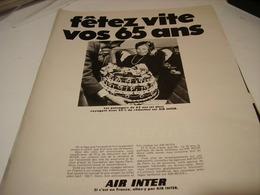 ANCIENNE PUBLICITE VOS 65 ANS LIGNE AERIENNE AIR INTER 1969 - Publicités