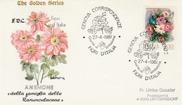 Fiori D'Italia 1981 Genova - Fleurs Blumen Flowers - Anémone - Marcophilie - EMA (Empreintes Machines)