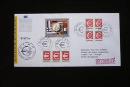 Lettre Recommandée Voyagée PJ 01/01/1999 + Vignette Euro  Vers Strasbourg - Covers & Documents