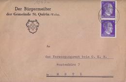 Lettre à Entête De Ste Quirin (T 334 St Quirin A über Saarburg Westmark) TP Reich 6pfx2=1°éch Le 16/2/42 - Postmark Collection (Covers)