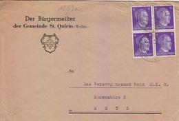 Lettre à Entête De Ste Quirin (T 334 St Quirin A über Saarburg Westmark) TP Reich 6pfx4=2°éch Le 16/2/43 - Postmark Collection (Covers)