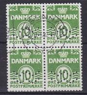 Denmark Perfin Perforé Lochung (Fig04a) 'ww' Københavns Kommune, København 4-Block (2 Scans) - Abarten Und Kuriositäten