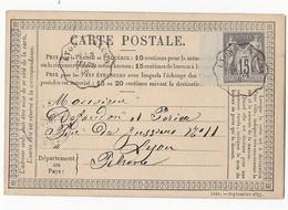 Sage 77 Sur Carte Précurseur TAD Convoyeur De Ligne Lyon A Mâcon 3 Mars 1878 - Postal Stamped Stationery