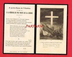 Image Religieuse Paroisse Notre Dame De VILLEDIEU Manche Liste De Noms De Morts Guerre 14-18 - Images Religieuses
