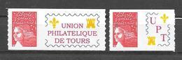 P94 Marianne De Luquet N° 3729A Et 3729Aa N++ Adhésifs Personnalisés Union Philatélique De Tours - Personalisiert