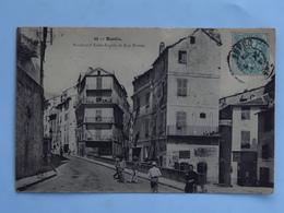 C.P.A. 20 BASTIA : Boulevard St-Angela Et Rue Droite, Animé, Timbre En 1905, - Bastia