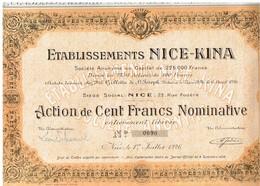 Ancienne Action - Etablissements Nice-Kina - Titre De 1926 - Industrie