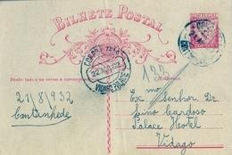 1932 , PORTUGAL , ENTERO POSTAL CIRCULADO  , CANTANHEDE - VIDAGO PALACE - Ganzsachen