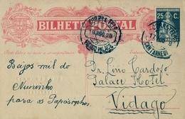 1928 , PORTUGAL , ENTERO POSTAL CIRCULADO, CERES 25 CTS.  , CANTANHEDE - VIDAGO, LLEGADA VIDAGO PALACE - Ganzsachen