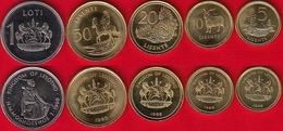 Lesotho Set Of 5 Coins: 5 Lisente - 1 Loti 1998 UNC - Lesotho