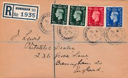 Great Britain 1937 KG6 1/2d X 2, 1d & 2.5d On Neat Cover Registered To Birmingham With First Day Cancels - 1902-1951 (Kings)