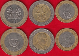 Kenya Set Of 3 Coins: 10 - 40 Shillings 1994-2005 BiMetallic - Kenya
