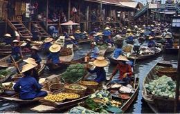 Damnernsaduak Floating Market - Rajburi Thailand - Formato Grande Viaggiata Mancante Di Affrancatura – E 7 - Cartoline