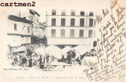 TARARE PLACE DU MARCHE ARRIVEE DU 121e REGIMENT DE LIGNE GUERRE 1900 - Tarare