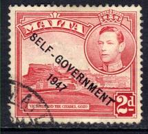 Malta 1948 -53 KGV1 2d Scarlet Self Govt Ovpt 1947  SG 238  ( L627 ) - Malte (...-1964)