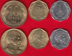 Chile Set Of 3 Coins: 1 - 10 Pesos 1992-1998 UNC - Chili