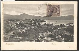J) 1908 MEXICO, ACAPULCO BAY, 1 CENT PURPLE, EAGLE, POSTCARD - Mexico