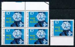 [105783]Belgique 1983, Minéraux, Le Diamant, En Bloc De 4 Avec Bdf + Le Timbre Bdf. - Minéraux
