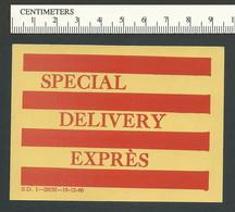 B52-86 CANADA Special Delivery Express 1960 Parcel Label 1u MNH - Local, Strike, Seals & Cinderellas