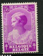 Belgium 1937     245f + 2.55f    Princess Josephine-Charlotte  Issue #B207  MH - Belgium