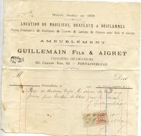 77 FONTAINEBLEAU - Ameublement GUILLEMAIN Fils & AIGRET (tapissiers-décorateurs), 65 Grande Rue - Facture De 1916 - Fontainebleau