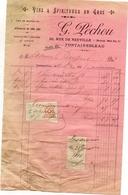 77 FONTAINEBLEAU - Vins Et Spiritueux  G. PÉCHOU, 30 Rue De Neuville - Facture De 1916 - Timbres Fiscaux - Fontainebleau