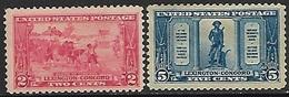 US  1925   Sc#618-9   2c/5c    MLH/mh  2016 Scott Value $18.75 - Vereinigte Staaten