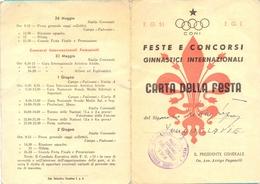 Italy. Florence. The Gymnastiks Competition 1951. `Carta Della Festa` - Gymnastique