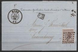 """L. Entête N°19 Lpts """"252"""" Càd """"MONS/22 SEPT/1866"""" Pour LUXEMBOURG + [PD] (au Dos: Càd Luxembourg) - 1865-1866 Profilo Sinistro"""