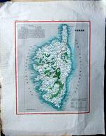 CORSE CORSICA CARTE ANCIENNE DU 19° SIECLE COLOREE DECORATIVE TRES BEL ETAT PAPIER CHIFFON 24 X 19 CM - Carte Geographique