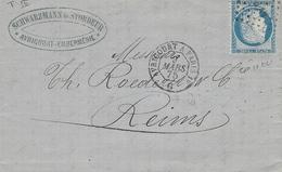 1875- Lettre D'Avricourt ( Meurthe Et Moselle ) Pour Reims -cad AMB. AVRICOURT A PARIS 1° Affr. N°60 Oblit. AV.P. 1° - Postmark Collection (Covers)